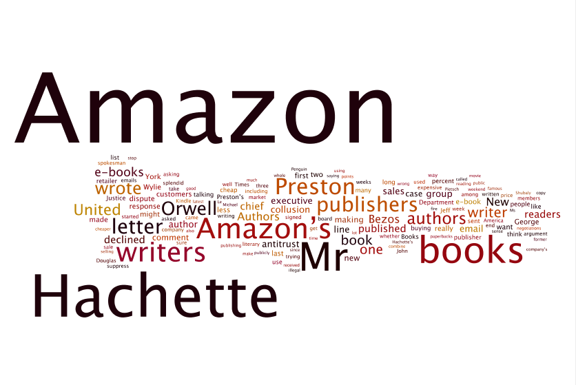 Wordle: Sample of David Streitfeld's NYT articles on the Amazon-Hachette Dispute