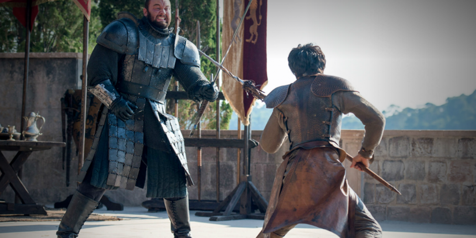 the mountain vs oberyn in profile, showing their armor, fighting stances and weaponry